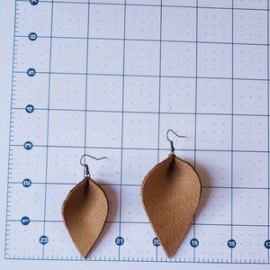 Jewelry - 3 Inch | Brown Petal Leather Earrings